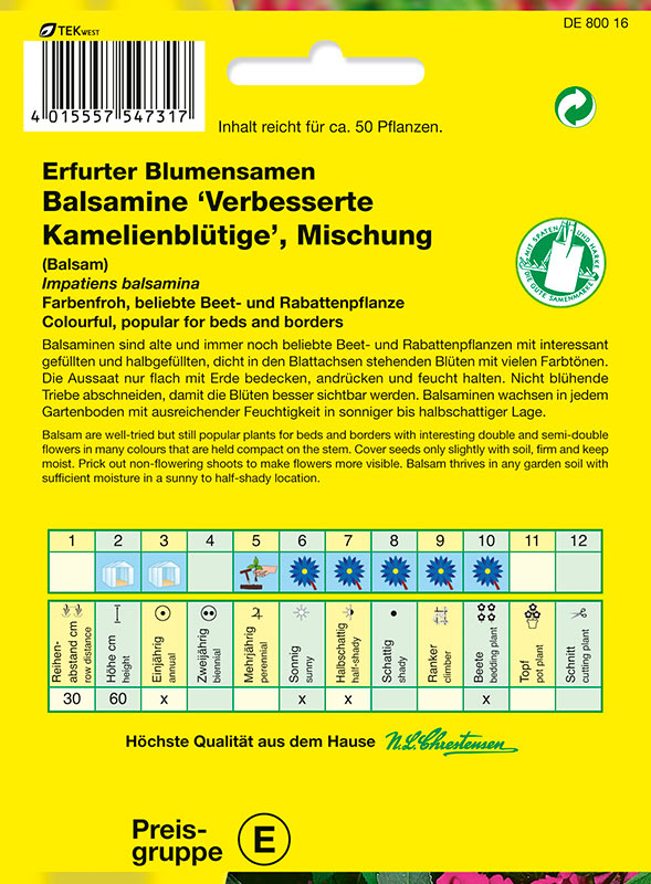Saatgut Impatiens balsamina Kamelienblütige Mischung Chrestensen AR7821
